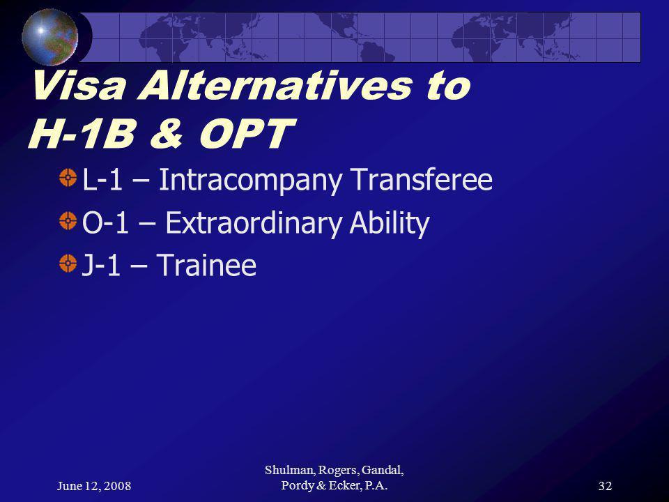 June 12, 2008 Shulman, Rogers, Gandal, Pordy & Ecker, P.A.32 Visa Alternatives to H-1B & OPT L-1 – Intracompany Transferee O-1 – Extraordinary Ability J-1 – Trainee
