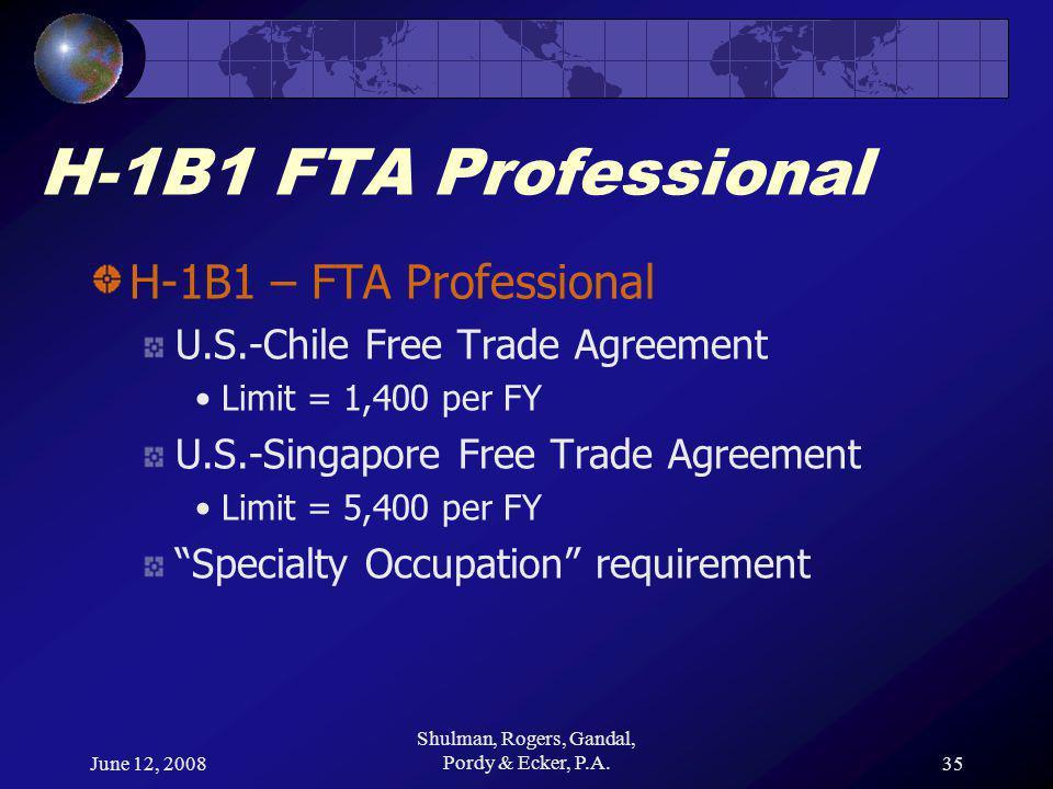 June 12, 2008 Shulman, Rogers, Gandal, Pordy & Ecker, P.A.35 H-1B1 FTA Professional H-1B1 – FTA Professional U.S.-Chile Free Trade Agreement Limit = 1,400 per FY U.S.-Singapore Free Trade Agreement Limit = 5,400 per FY Specialty Occupation requirement