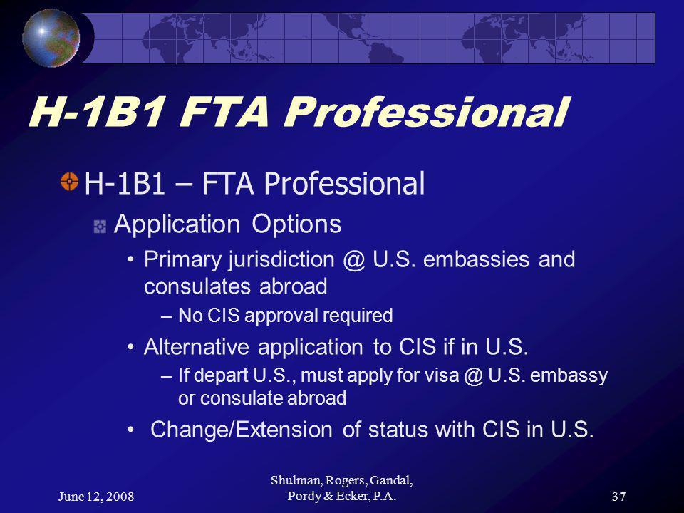 June 12, 2008 Shulman, Rogers, Gandal, Pordy & Ecker, P.A.37 H-1B1 FTA Professional H-1B1 – FTA Professional Application Options Primary jurisdiction @ U.S.