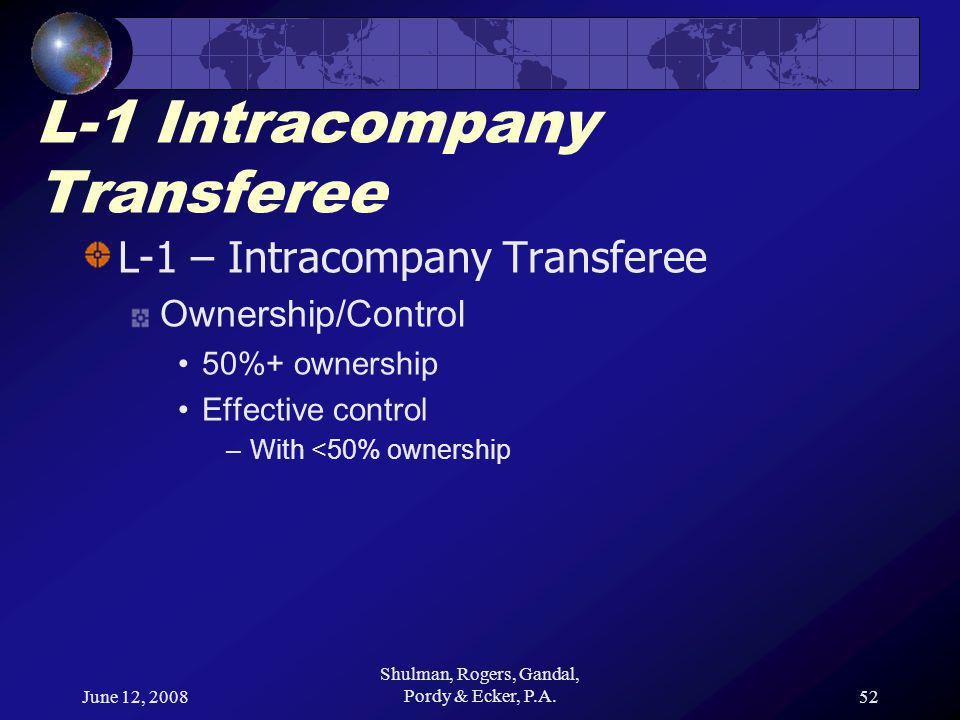 June 12, 2008 Shulman, Rogers, Gandal, Pordy & Ecker, P.A.52 L-1 Intracompany Transferee L-1 – Intracompany Transferee Ownership/Control 50%+ ownership Effective control –With <50% ownership