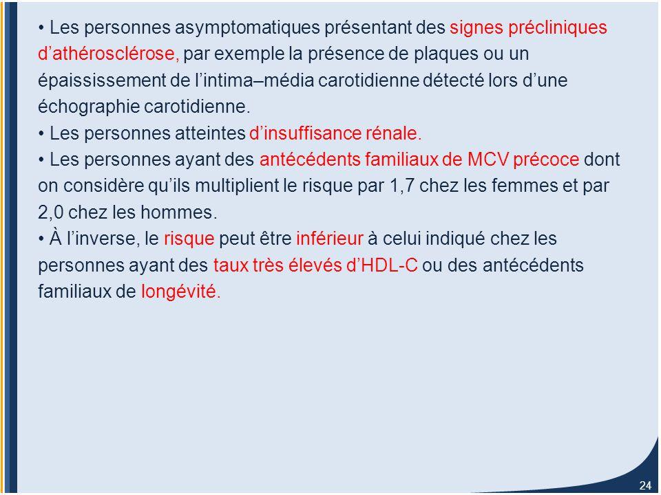 24 Les personnes asymptomatiques présentant des signes précliniques d'athérosclérose, par exemple la présence de plaques ou un épaississement de l'intima–média carotidienne détecté lors d'une échographie carotidienne.