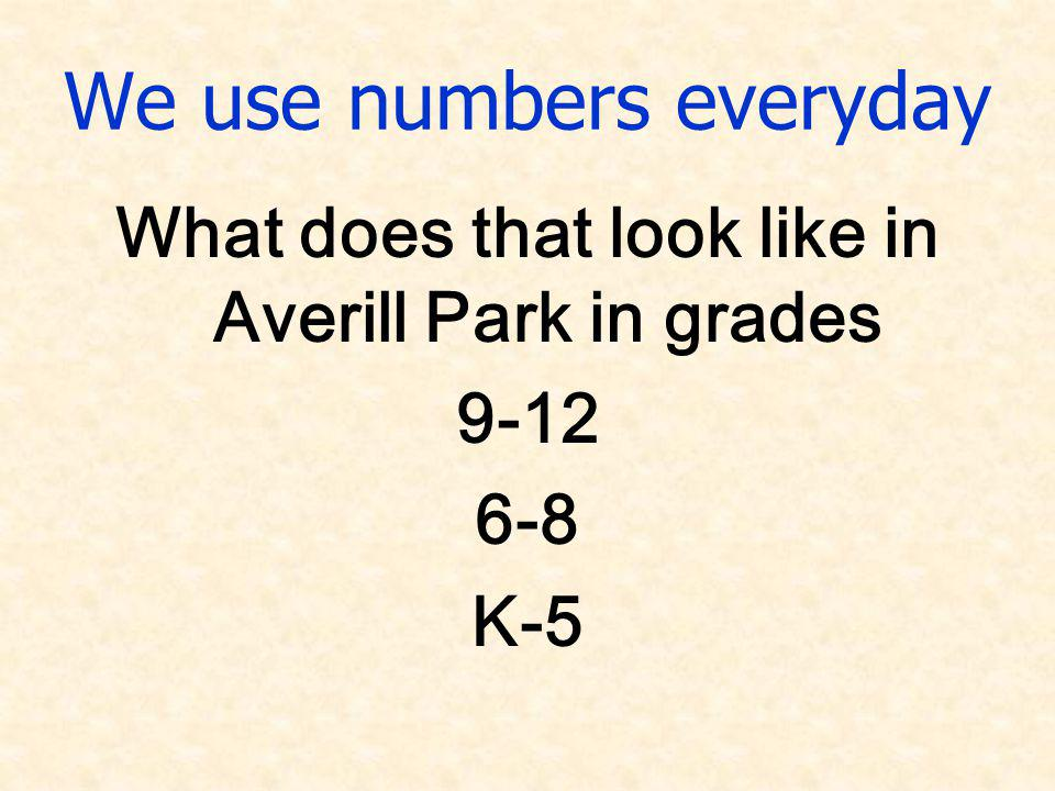 We use numbers everyday What does that look like in Averill Park in grades 9-12 6-8 K-5