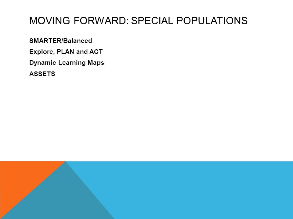 MOVING FORWARD: SPECIAL POPULATIONS SMARTER/Balanced Explore, PLAN and ACT Dynamic Learning Maps ASSETS