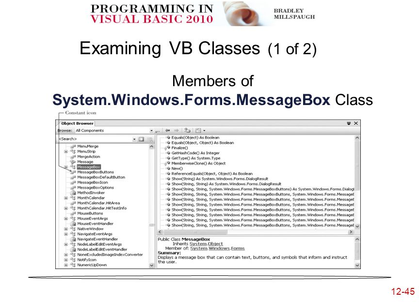 12-45 Examining VB Classes (1 of 2) Members of System.Windows.Forms.MessageBox Class