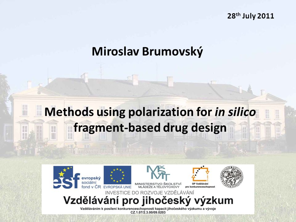 Miroslav Brumovský28th July 2011 2/12 Outline theoretical background goal of the project methods used results
