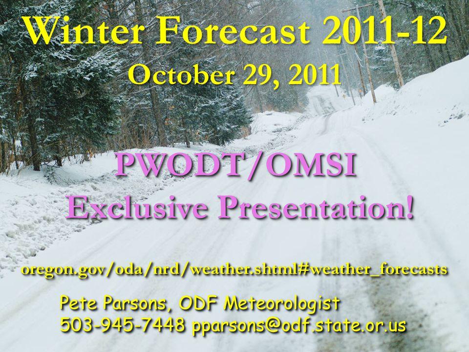 January 2011 ( Forecast Issued October 16, 2010) Forecast Precipitation Actual Precipitation Data courtesy of the National Climatic Data Center (NCDC)