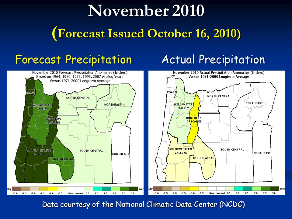 December – February 2010-11 ( Forecast Issued October 16, 2010) Forecast Temperatures Actual Temperatures Data courtesy of the National Climatic Data Center (NCDC)
