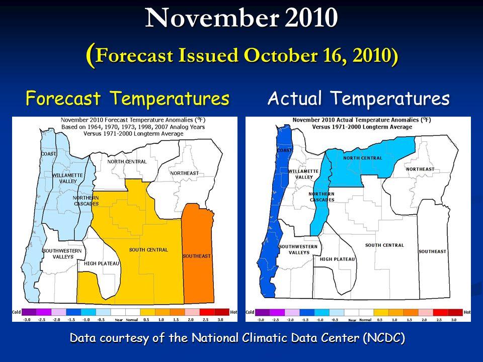 December 2010 ( Forecast Issued October 16, 2010) Forecast Precipitation Actual Precipitation Data courtesy of the National Climatic Data Center (NCDC)