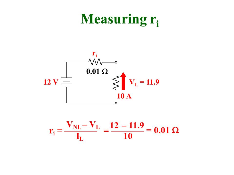 12 V 0.01  Measuring r i riri V NL = 12 r i = 10 A V L = 11.9 V NL – V L ILIL 12 – 11.9 10 = = 0.01 