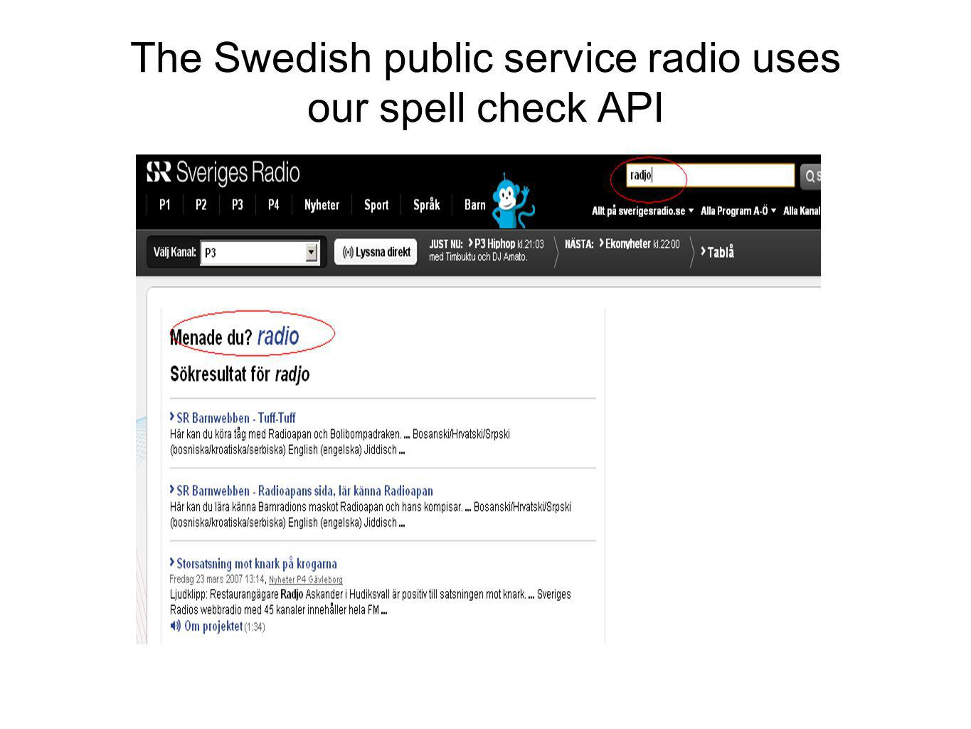 The Swedish public service radio uses our spell check API