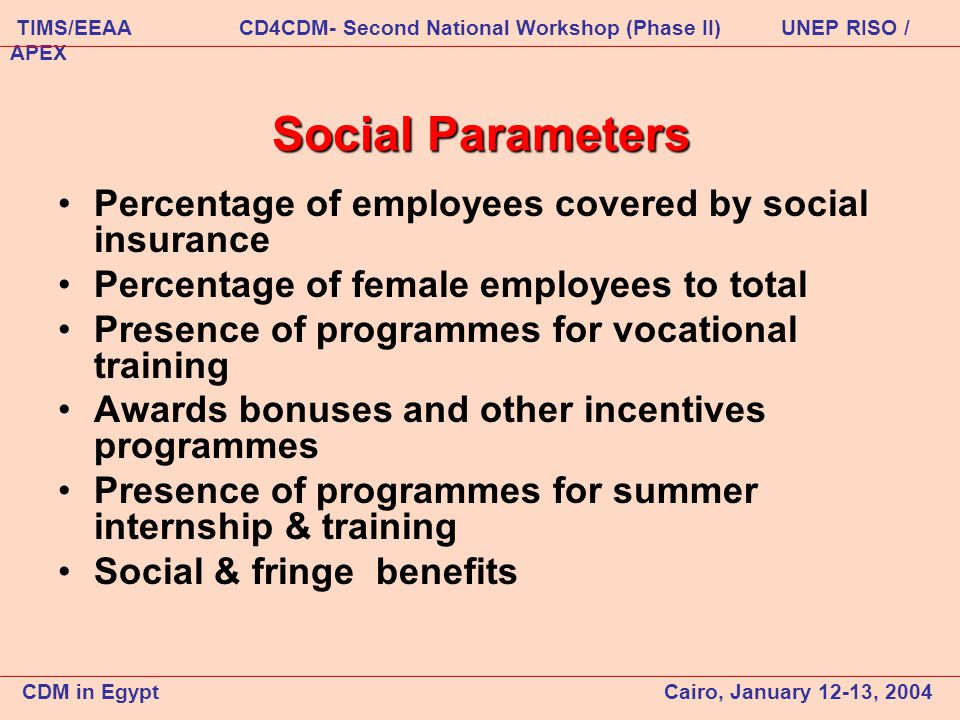 Social Parameters Percentage of employees covered by social insurance Percentage of female employees to total Presence of programmes for vocational training Awards bonuses and other incentives programmes Presence of programmes for summer internship & training Social & fringe benefits CDM in Egypt Cairo, January 12-13, 2004 TIMS/EEAA CD4CDM- Second National Workshop (Phase II) UNEP RISO / APEX