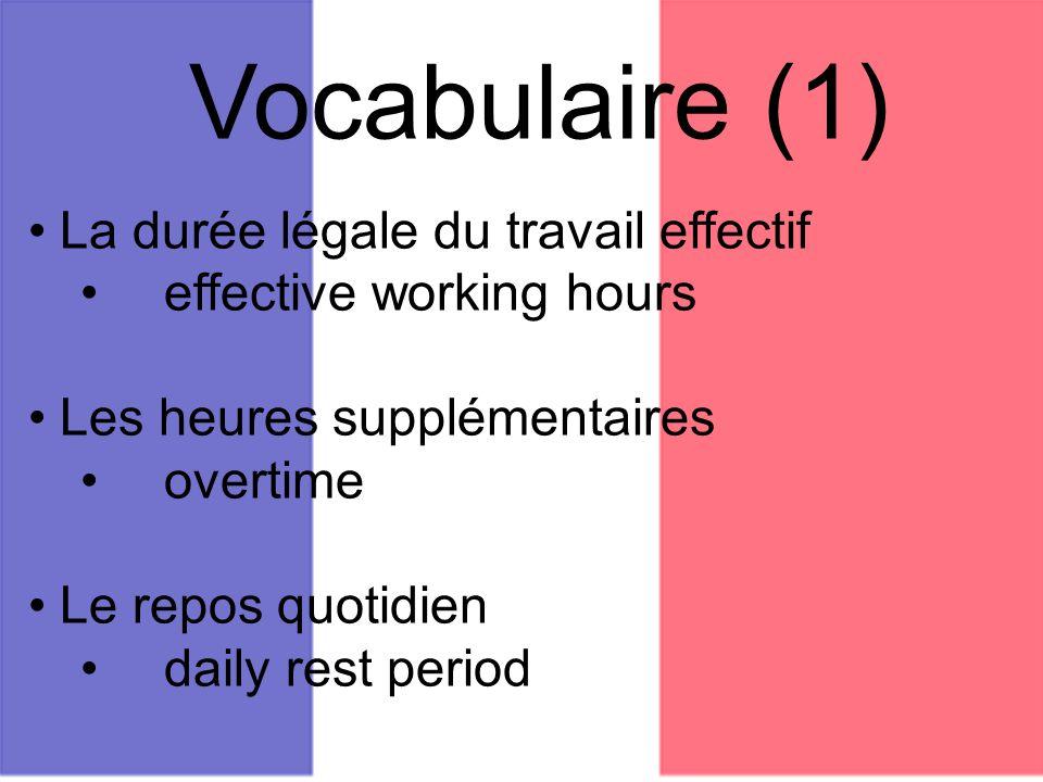 Vocabulaire (1) La durée légale du travail effectif effective working hours Les heures supplémentaires overtime Le repos quotidien daily rest period