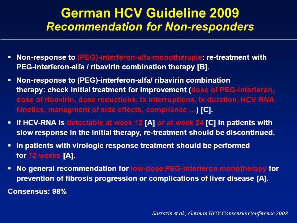 German HCV Guideline 2009 Recommendation for Non-responders  Non-response to (PEG)-interferon-alfa-monotherapie: re-treatment with PEG-interferon-alfa / ribavirin combination therapy [B].