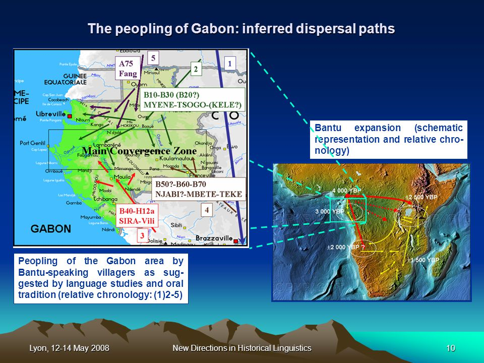 Lyon, 12-14 May 2008New Directions in Historical Linguistics10 The peopling of Gabon: inferred dispersal paths Bantu expansion (schematic representation and relative chro- nology) Peopling of the Gabon area by Bantu-speaking villagers as sug- gested by language studies and oral tradition (relative chronology: (1)2-5)