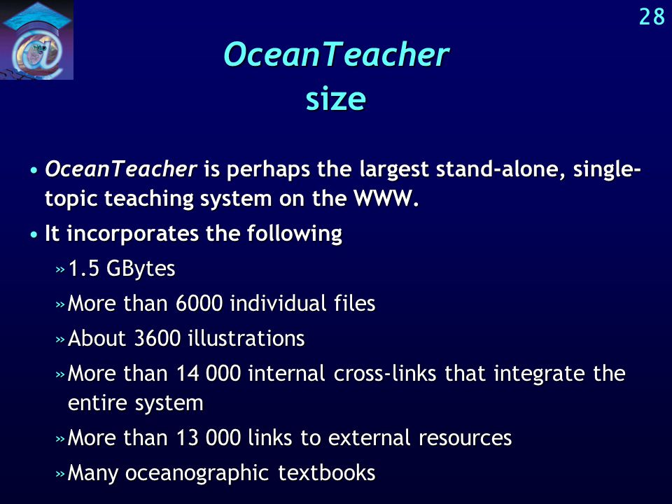 The size of OceanTeacher