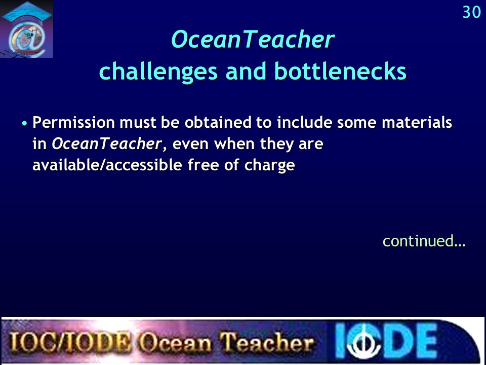 Challenges and bottlenecks related to OceanTeacher