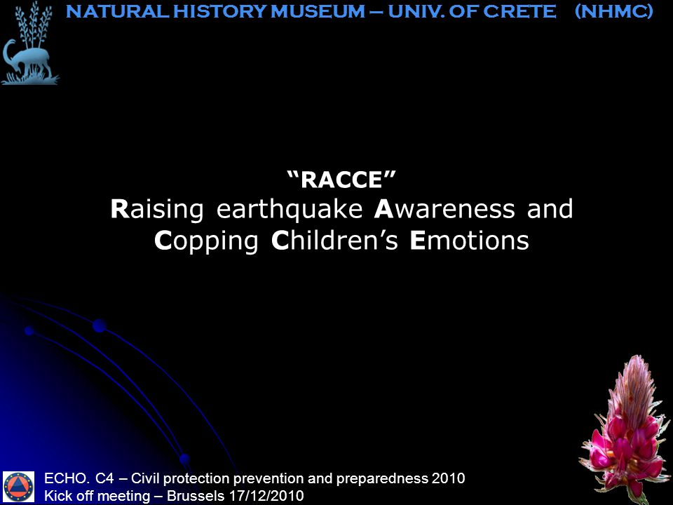 RACCE Raising earthquake Awareness and Copping Children's Emotions ECHO.
