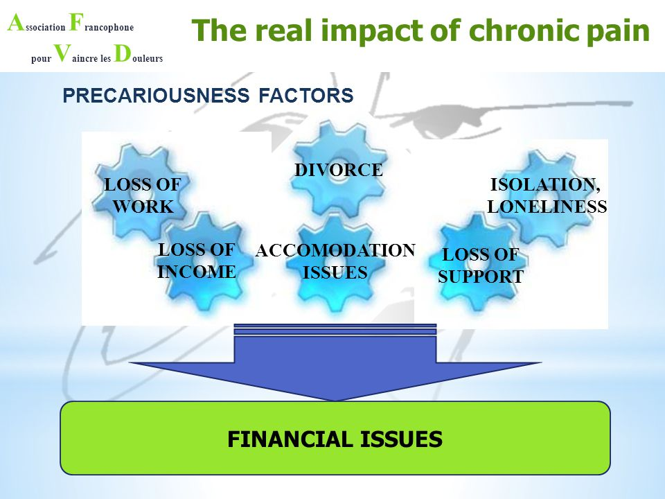 A ssociation F rancophone pour V aincre les D ouleurs PRECARIOUSNESS FACTORS The real impact of chronic pain FINANCIAL ISSUES LOSS OF WORK LOSS OF INC