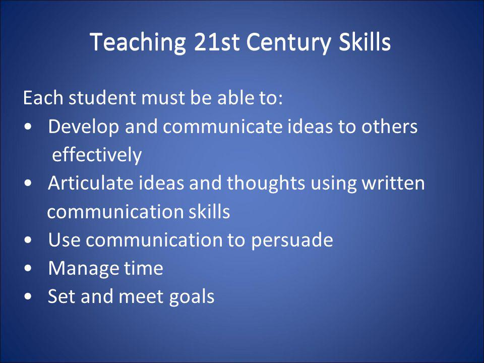 Teaching 21st Century Skills Each student must be able to: Develop and communicate ideas to others effectively Articulate ideas and thoughts using wri