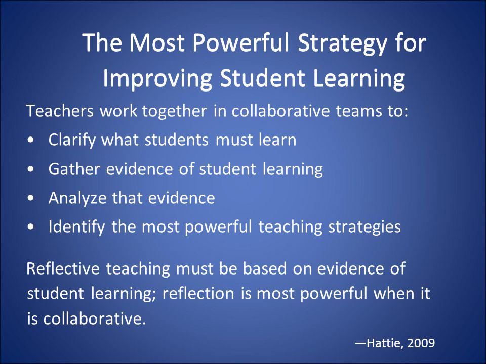 The Most Powerful Strategy for Improving Student Learning Teachers work together in collaborative teams to: Clarify what students must learn Gather ev