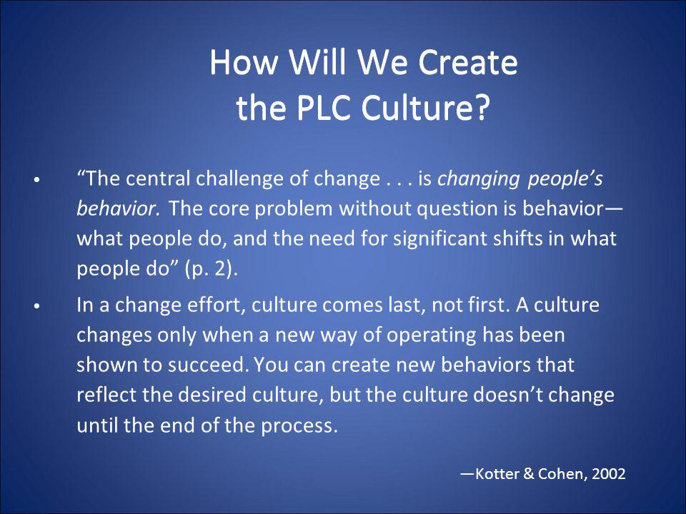 "How Will We Create the PLC Culture? ""The central challenge of change... is changing people's behavior. The core problem without question is behavior—"