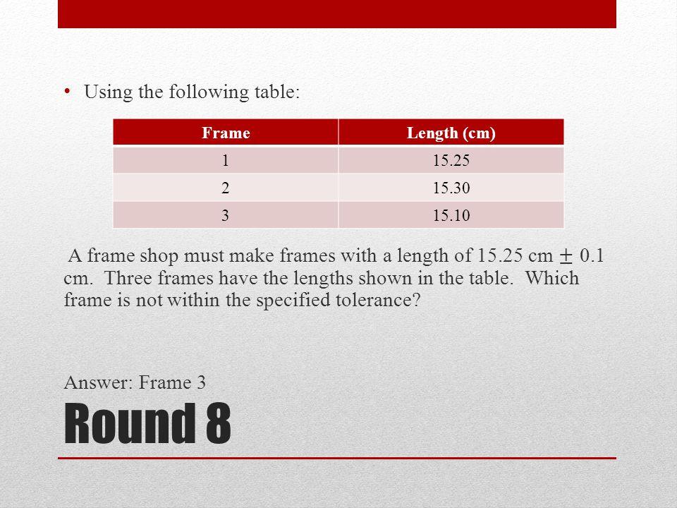 Round 8 FrameLength (cm) 115.25 215.30 315.10