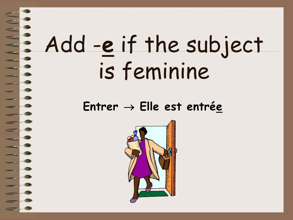 Add -e if the subject is feminine Entrer  Elle est entrée
