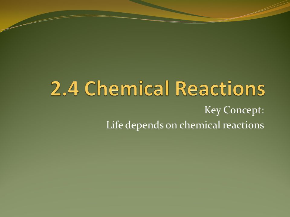 Key Concept: Life depends on chemical reactions