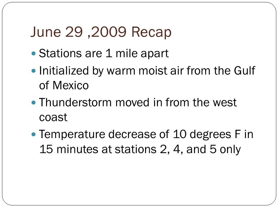 June 29,2009 Recap Stations are 1 mile apart Initialized by warm moist air from the Gulf of Mexico Thunderstorm moved in from the west coast Temperatu