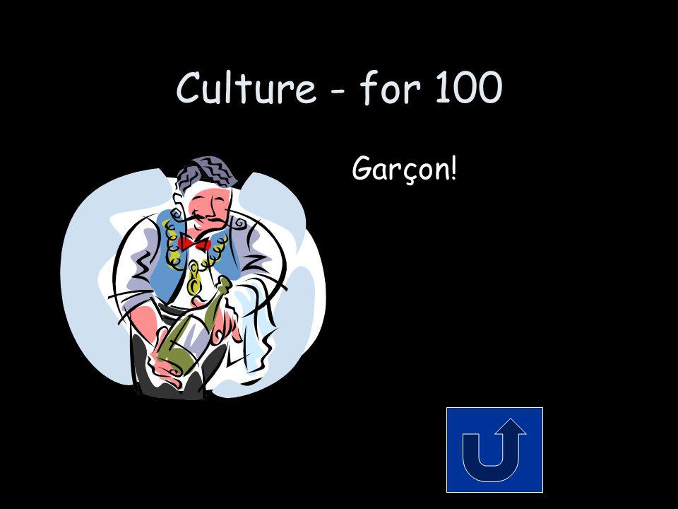 Culture - for 100 Garçon!