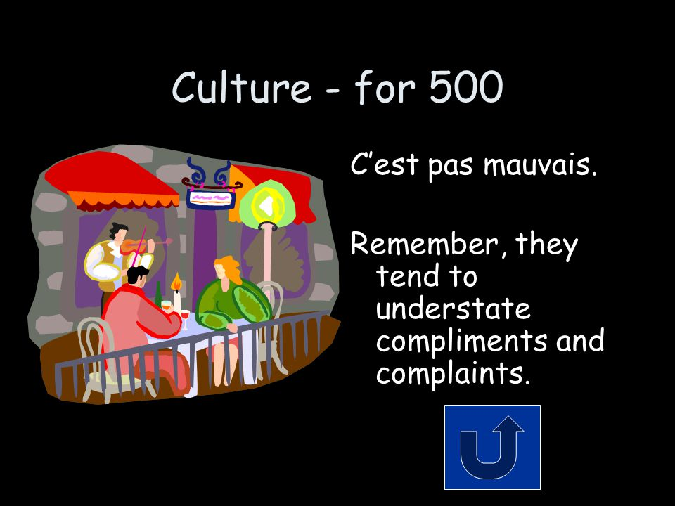 Culture - for 500 C'est pas mauvais. Remember, they tend to understate compliments and complaints.
