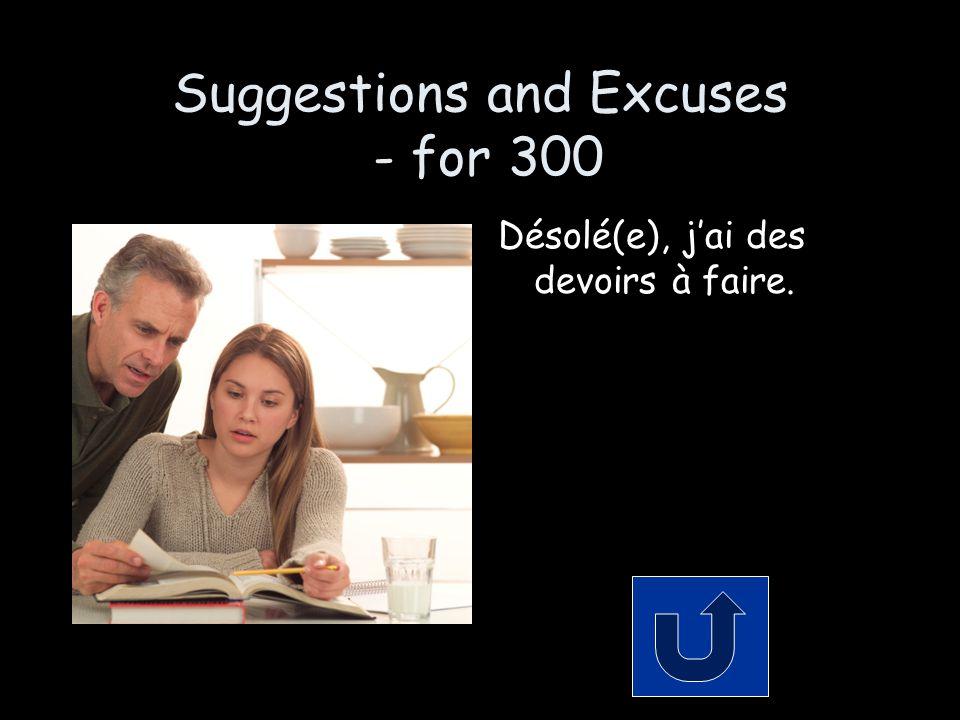 Suggestions and Excuses - for 300 Désolé(e), j'ai des devoirs à faire.