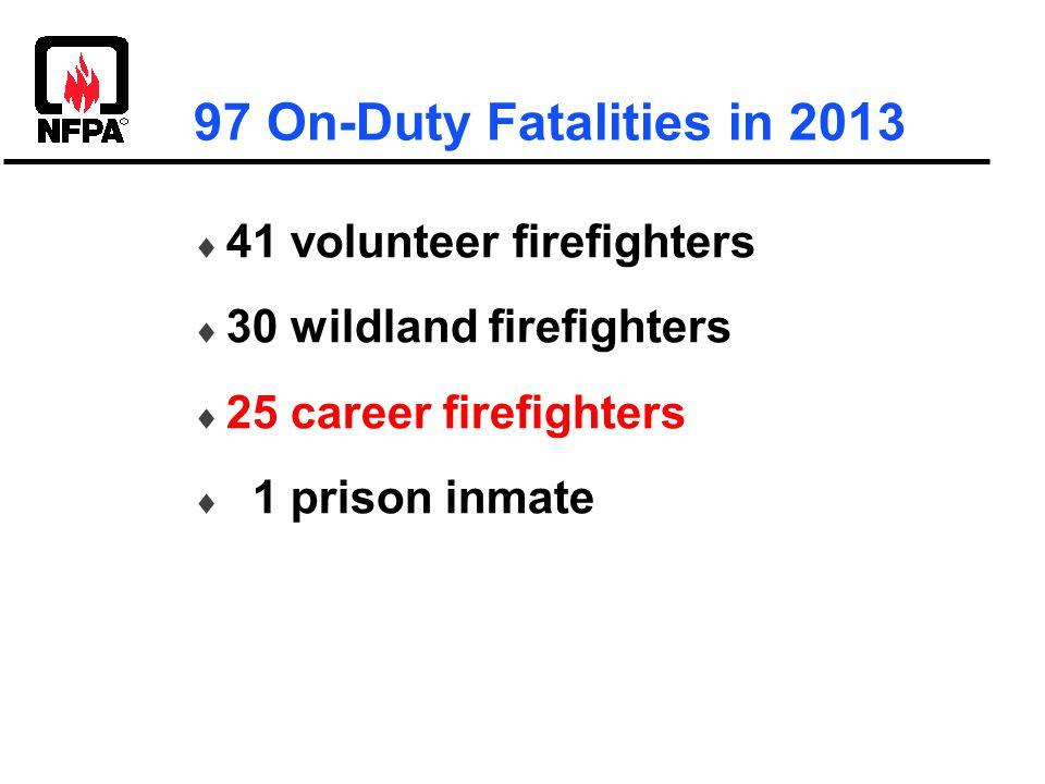  41 volunteer firefighters  30 wildland firefighters  25 career firefighters  1 prison inmate 97 On-Duty Fatalities in 2013