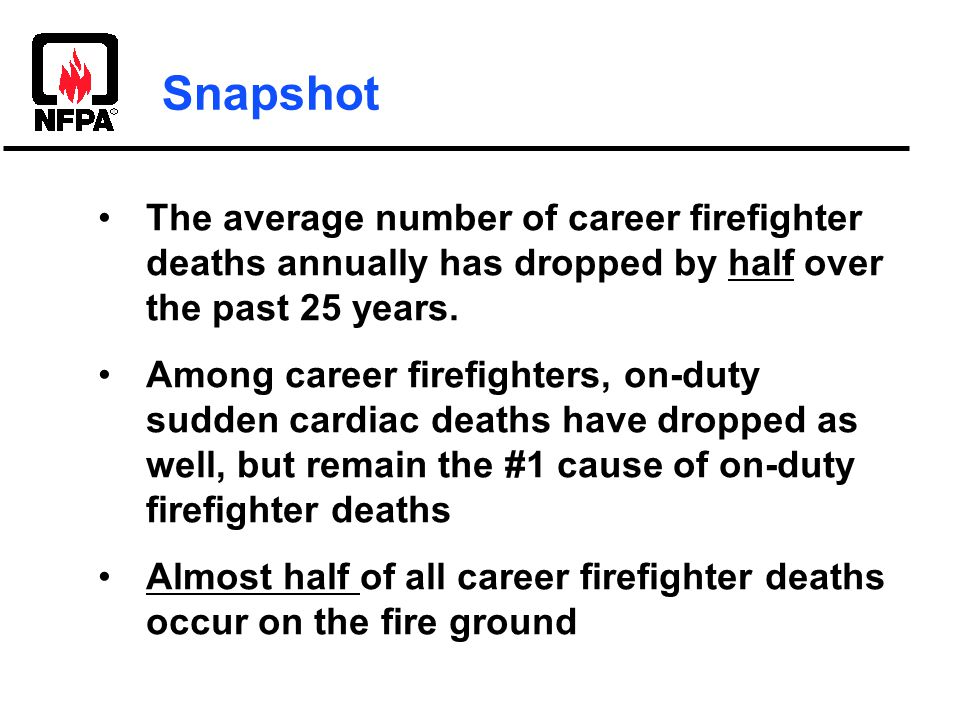 The average number of career firefighter deaths annually has dropped by half over the past 25 years.