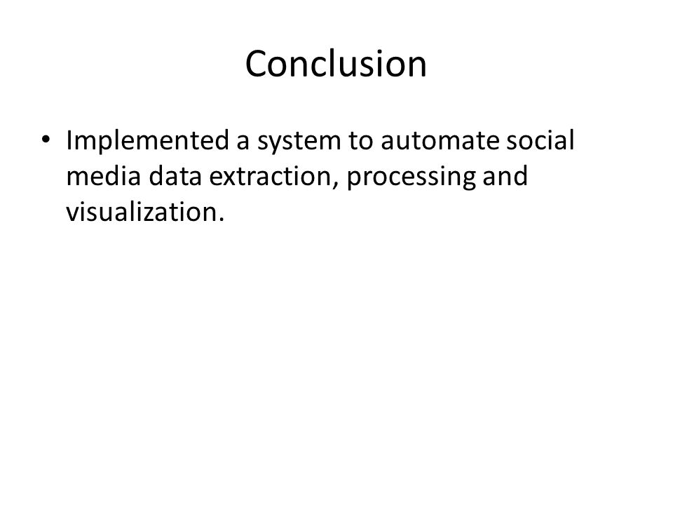 Conclusion Implemented a system to automate social media data extraction, processing and visualization.