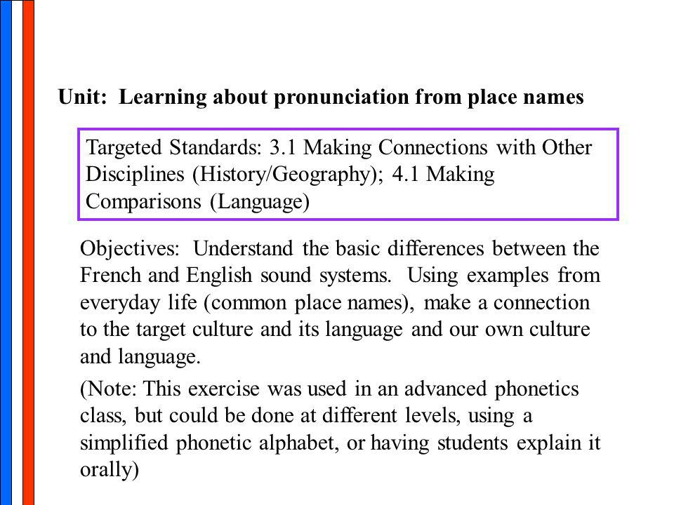 Unit: Learning about pronunciation from place names Targeted Standards: 3.1 Making Connections with Other Disciplines (History/Geography); 4.1 Making Comparisons (Language) Objectives: Understand the basic differences between the French and English sound systems.