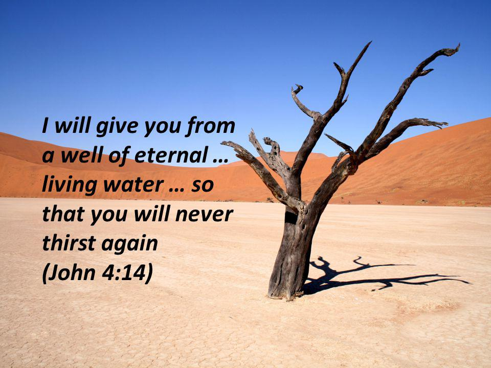 I will give you from a well of eternal … living water … so that you will never thirst again (John 4:14)