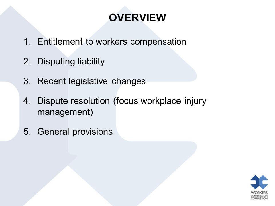 RECENT LEGISLATIVE CHANGES Workers Compensation Legislation Amendment Act 2012 Excluded classes of worker Police officers, paramedics, fire fighters, coal miners, emergency services volunteers and people with a dust disease claim under the Workers' Compensation (Dust Diseases) Act 1942 are excluded from the operation of the 2012 amendments