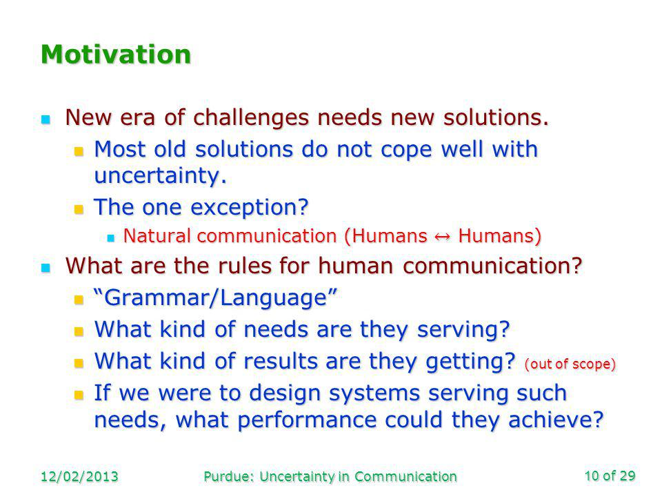 of 29 Motivation 12/02/2013Purdue: Uncertainty in Communication10