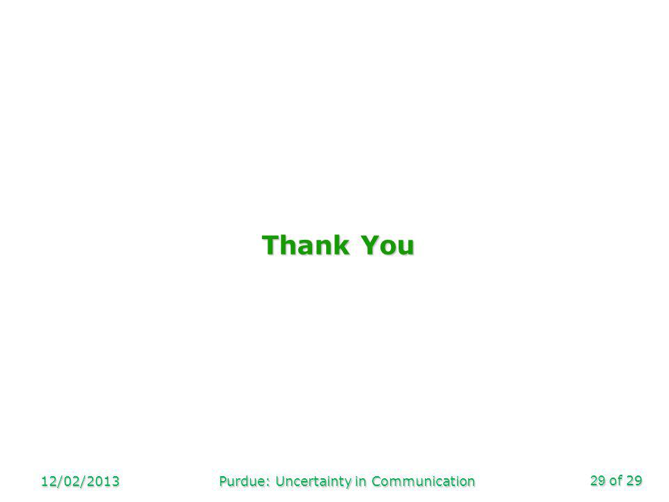 of 29 Thank You 12/02/2013Purdue: Uncertainty in Communication29