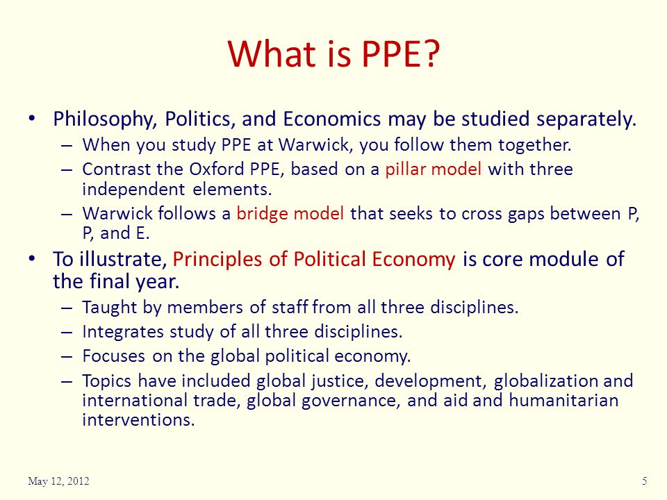 What is PPE. Philosophy, Politics, and Economics may be studied separately.