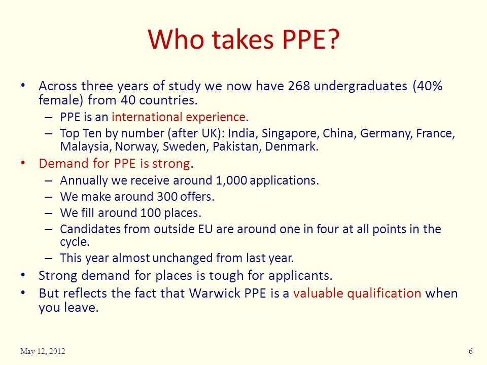 Some questions only you can answer Do you want to study PPE.