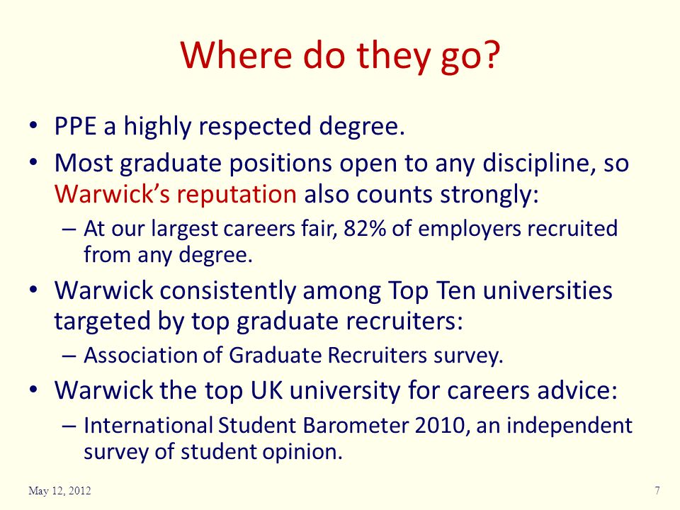 Where do they go. PPE a highly respected degree.
