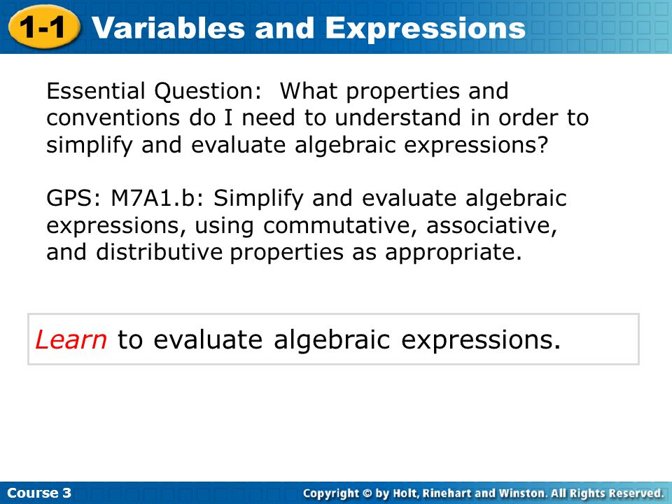 Vocabulary variable coefficient algebraic expression constant evaluate substitute Course 3 1-1 Variables and Expressions