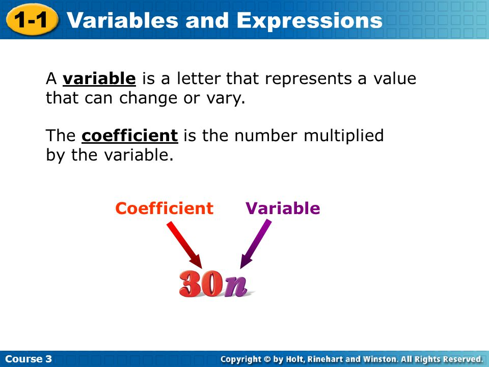 Additional Example 3B: Physical Science Application Course 3 1-1 Variables and Expressions Substitute 85 for c.