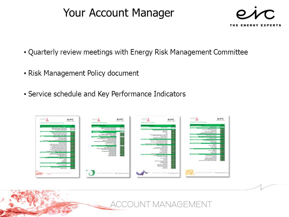 Your Account Manager Quarterly review meetings with Energy Risk Management Committee Risk Management Policy document Service schedule and Key Performance Indicators