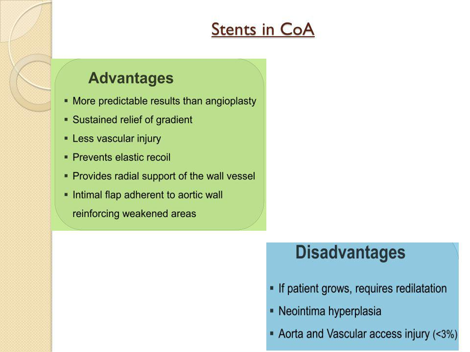 Stents in CoA