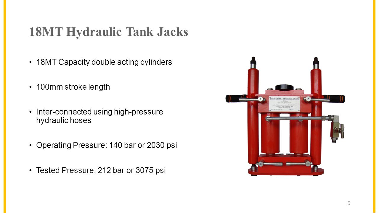 18MT Hydraulic Tank Jacks 18MT Capacity double acting cylinders 100mm stroke length Inter-connected using high-pressure hydraulic hoses Operating Pressure: 140 bar or 2030 psi Tested Pressure: 212 bar or 3075 psi 5