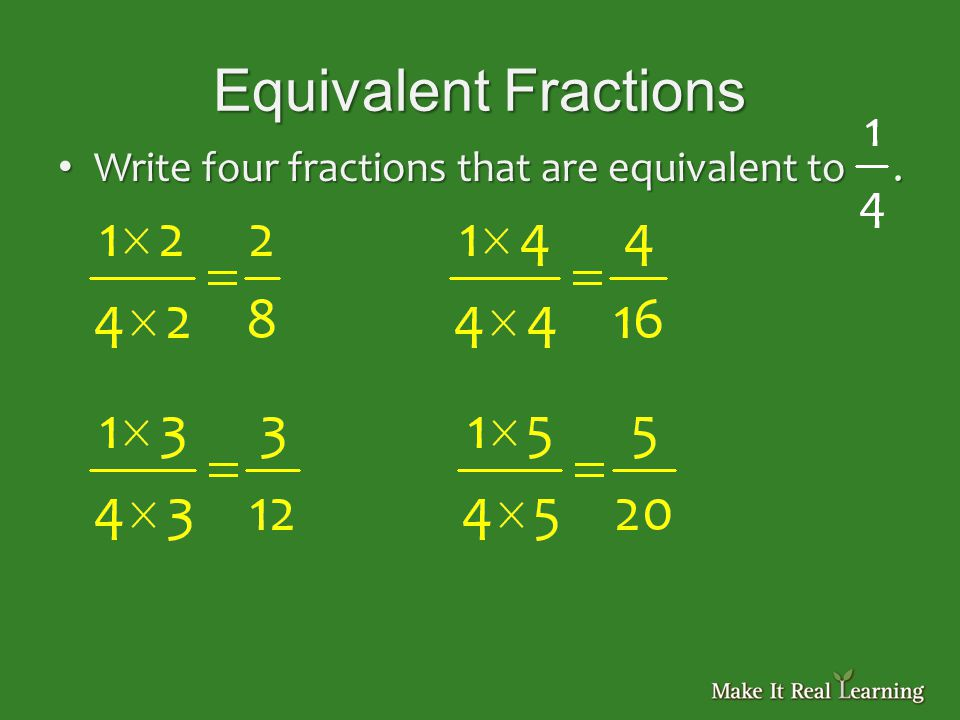 Equivalent Fractions Write four fractions that are equivalent to.