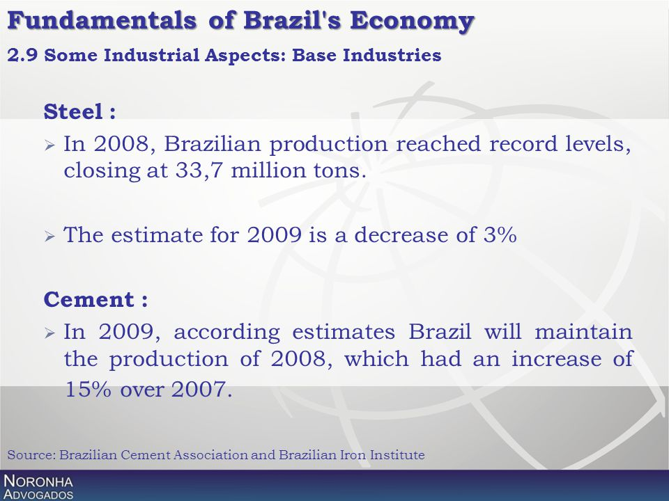 Fundamentals of Brazil's Economy Steel :  In 2008, Brazilian production reached record levels, closing at 33,7 million tons.  The estimate for 2009